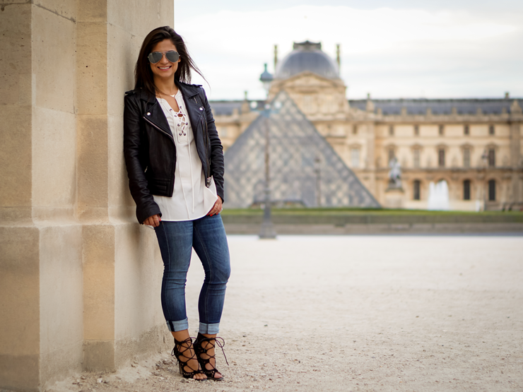 petite in paris diane coletta wears lace up white top