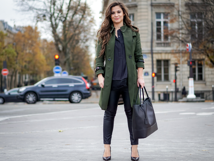 everyday parisian look petite fashion green trench coat