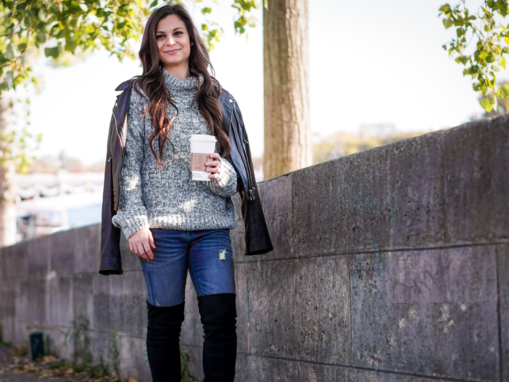coffee fall sweater leather jacket