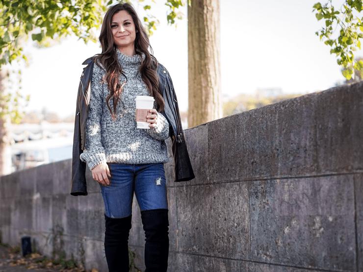 coffee fall sweater leather jacket
