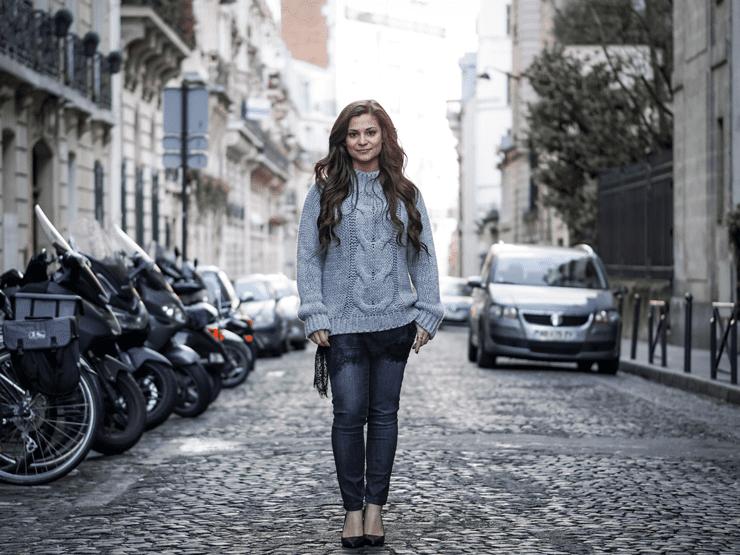 chunky grey knit fashion blog