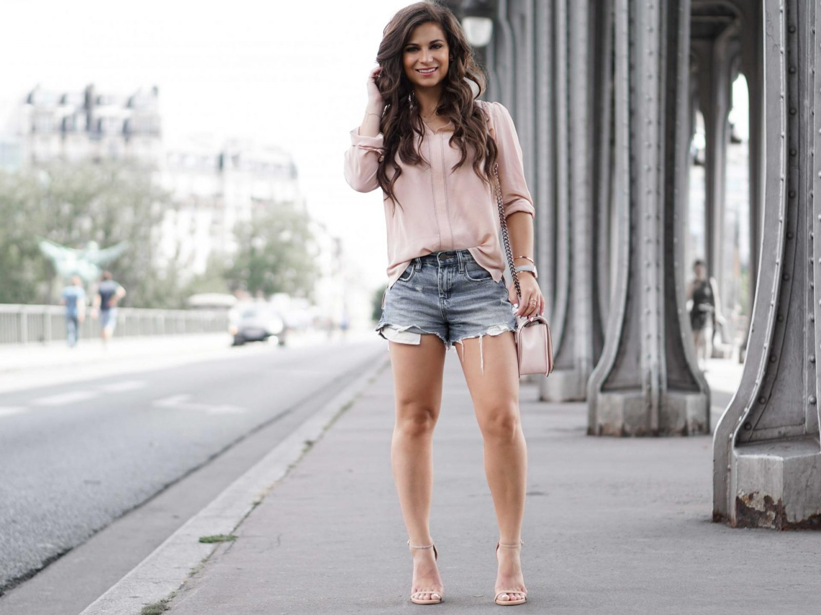 Blush Top and Jean Shorts