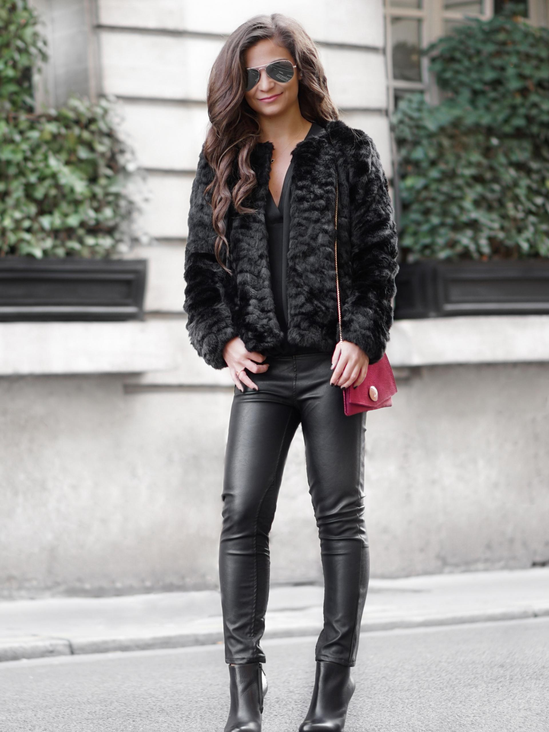 faux fur jacket and leather pants