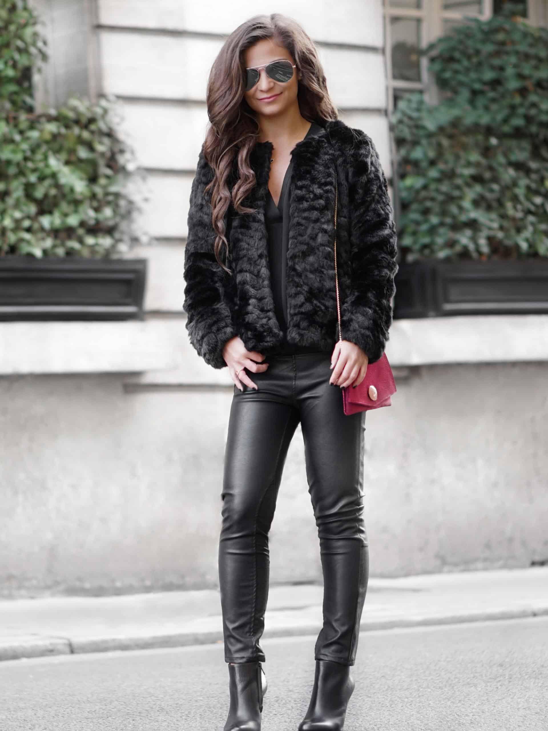 117e4ac1212c0a Faux Fur Jacket and Leather Pants • Petite in Paris