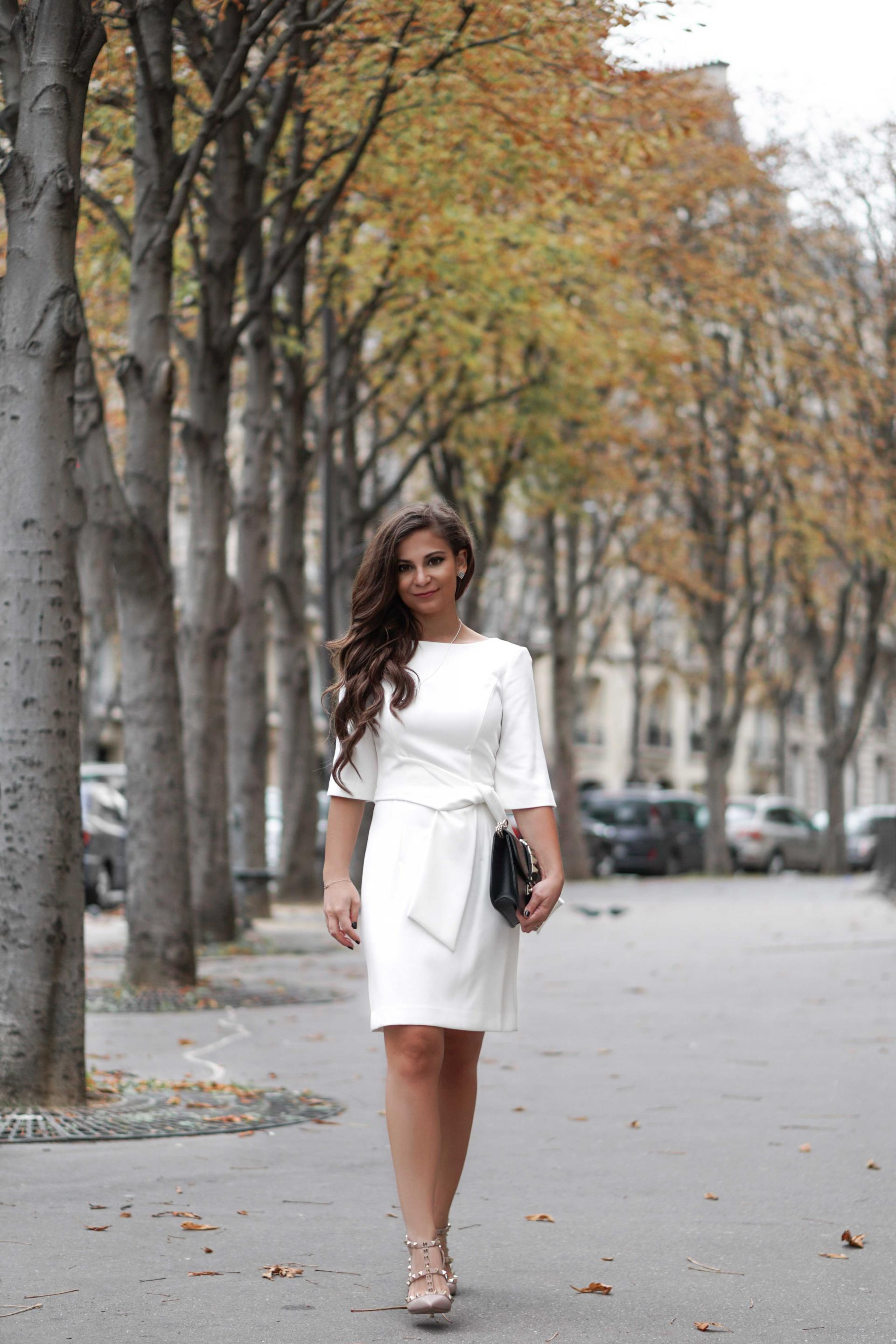 fall in paris white alice and olivia dress Diane Coleta