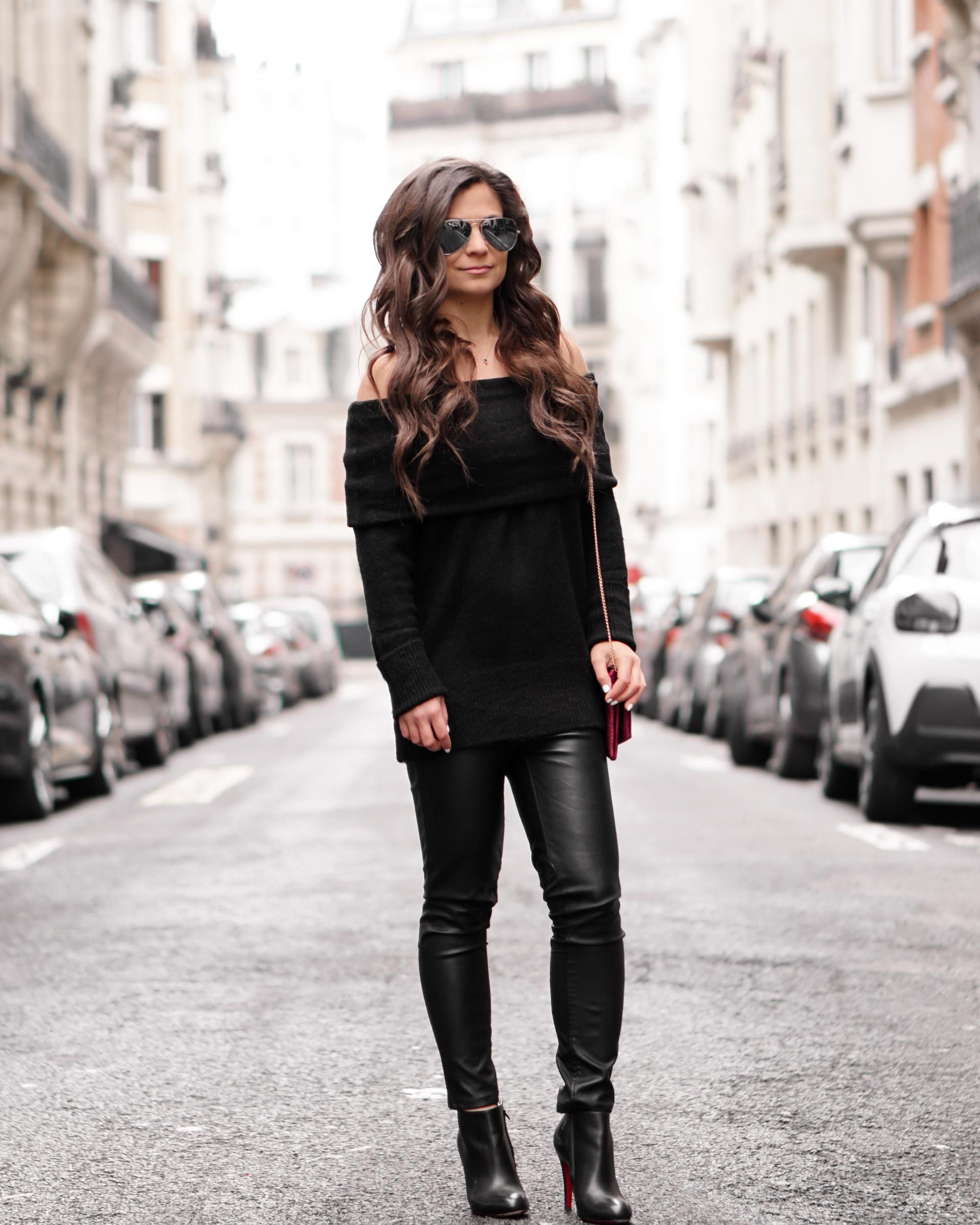 off the shoulder black sweater