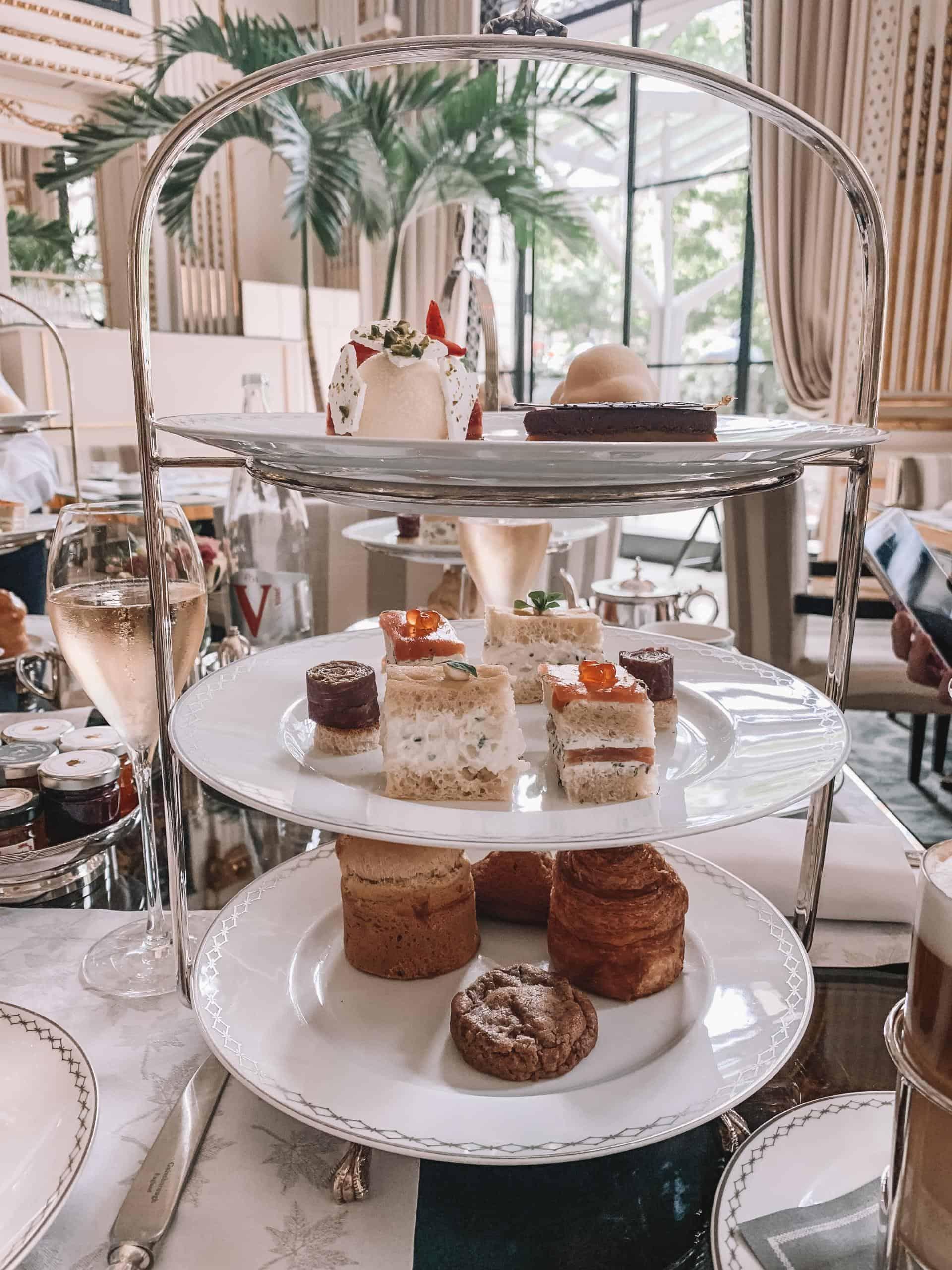 tea time food tray at the peninsula paris