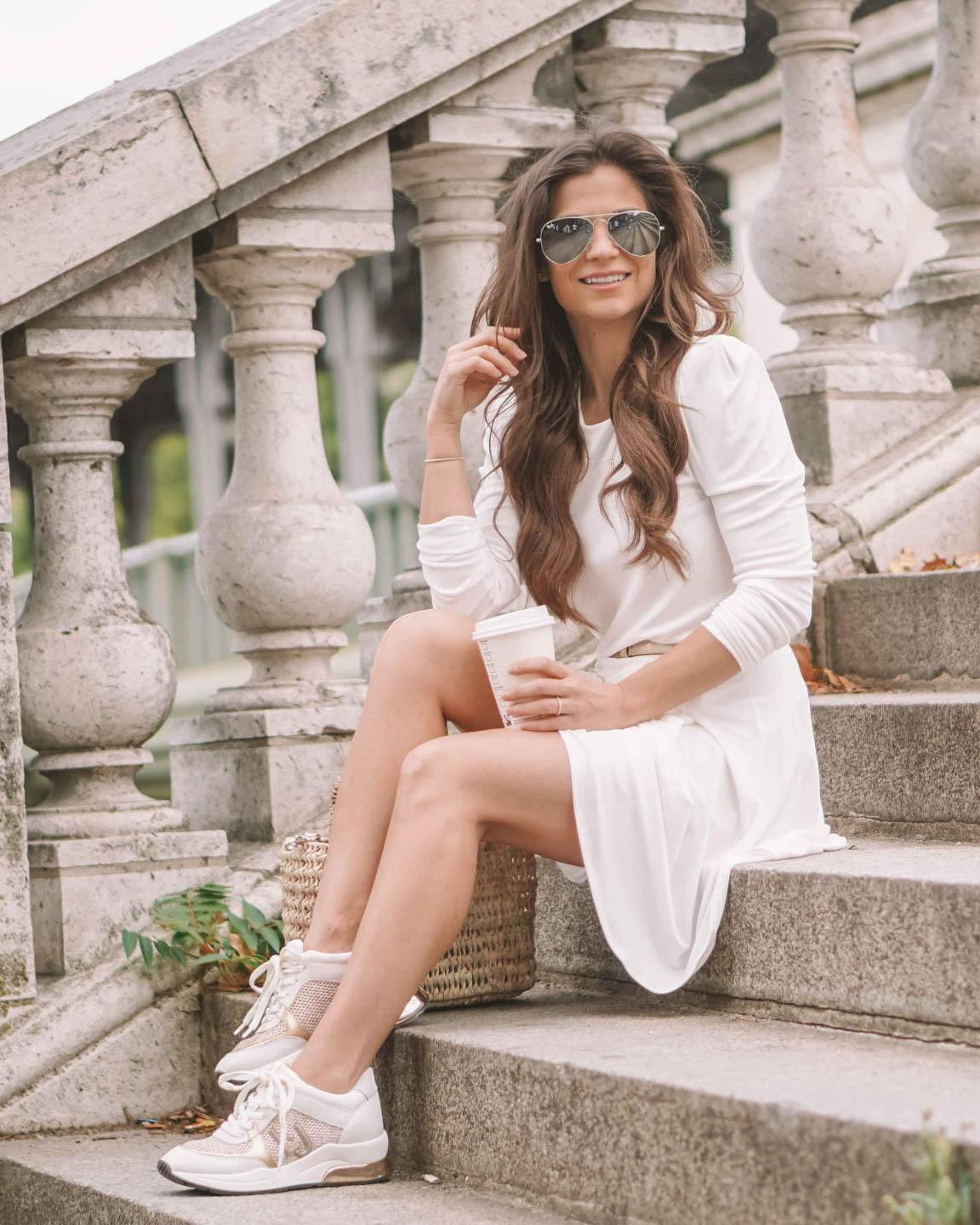 How To Wear Sneakers With A Dress Petite In Paris
