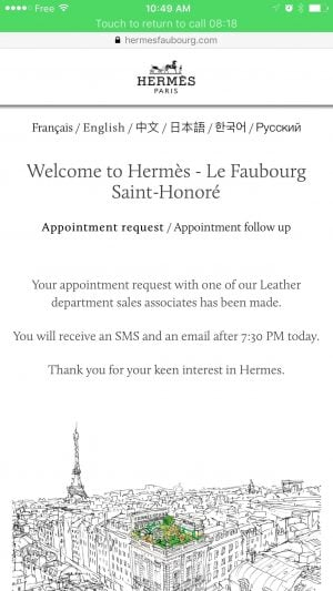 hermes appointment online