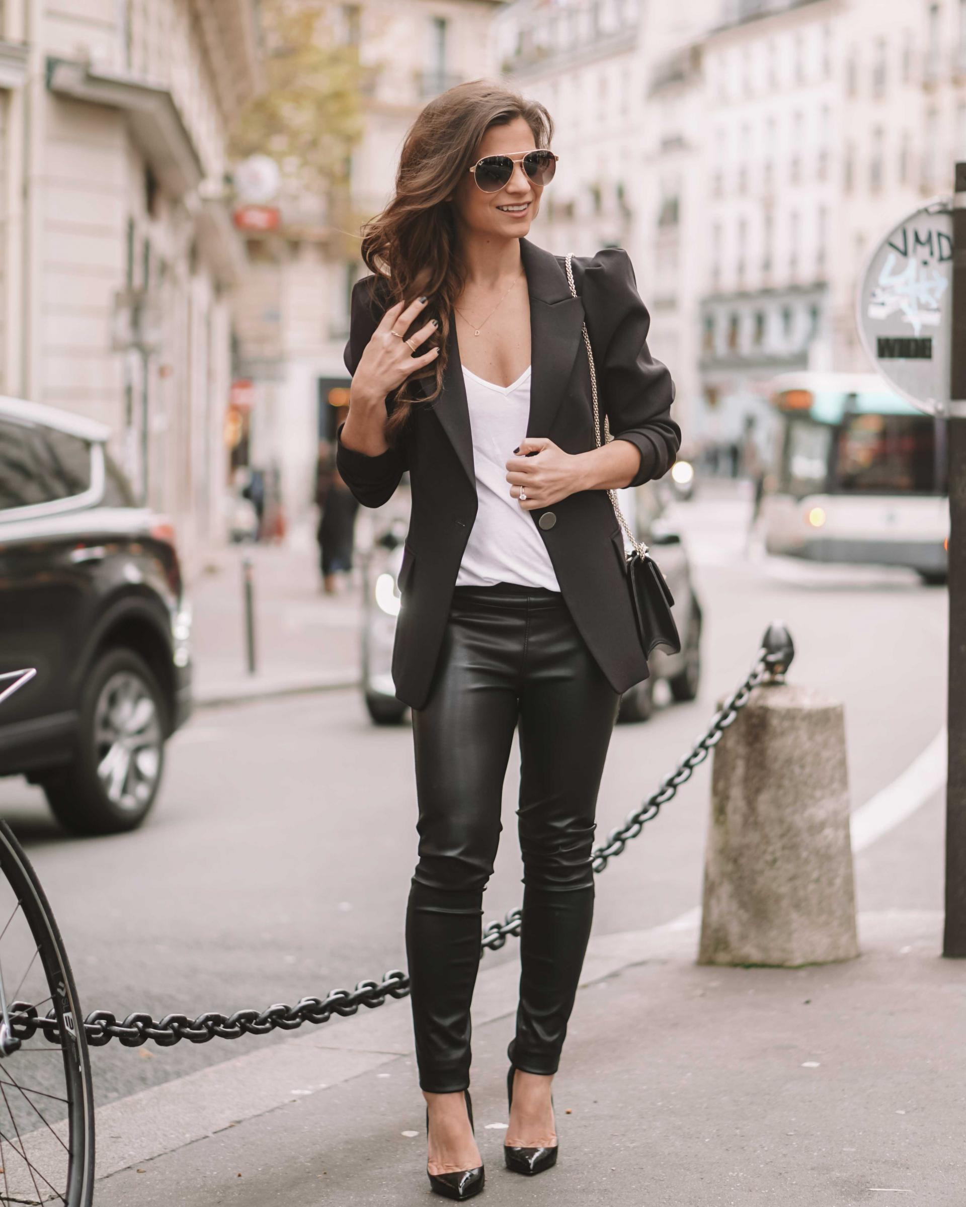 what to wear under a black blazer