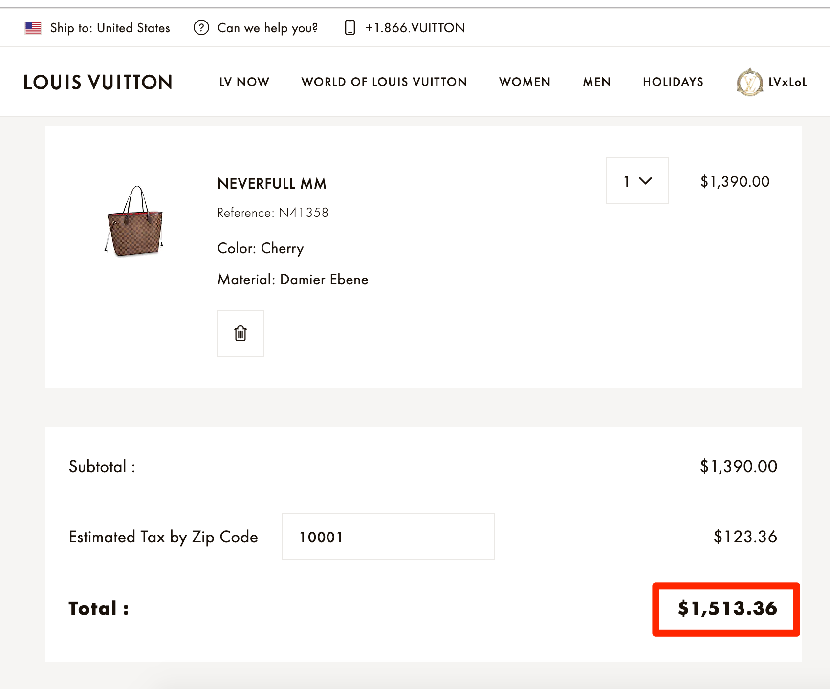 Louis Vuitton Neverfull USA Pricing