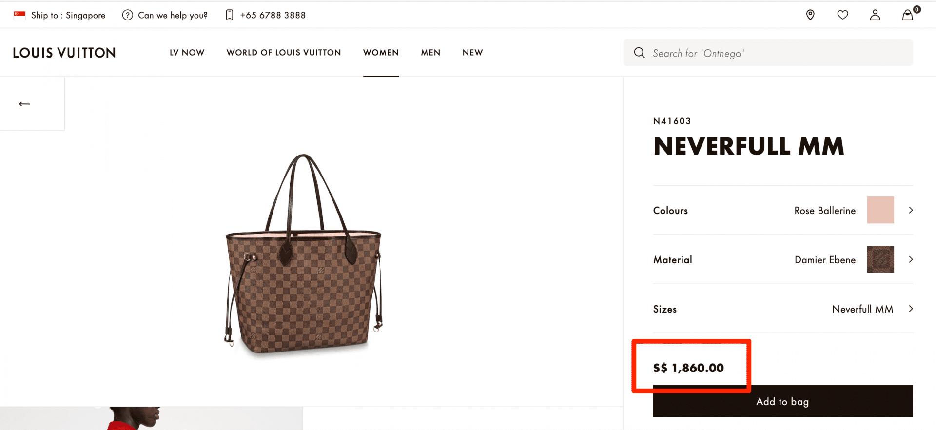 Louis Vuitton neverfull Singapore pricing
