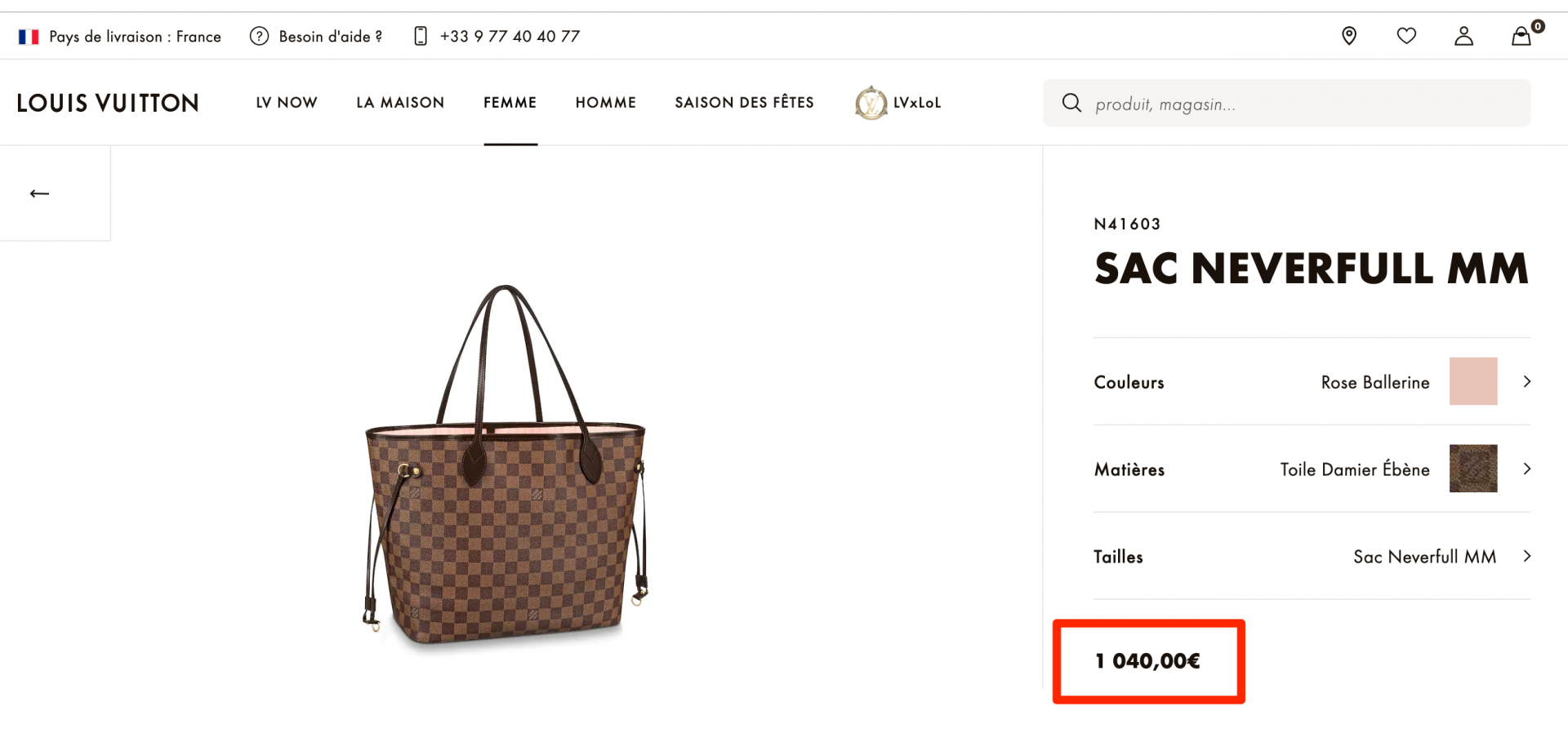 Louis Vuitton pricing in France