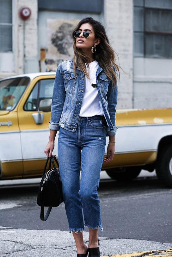 jeans with a jean jacket