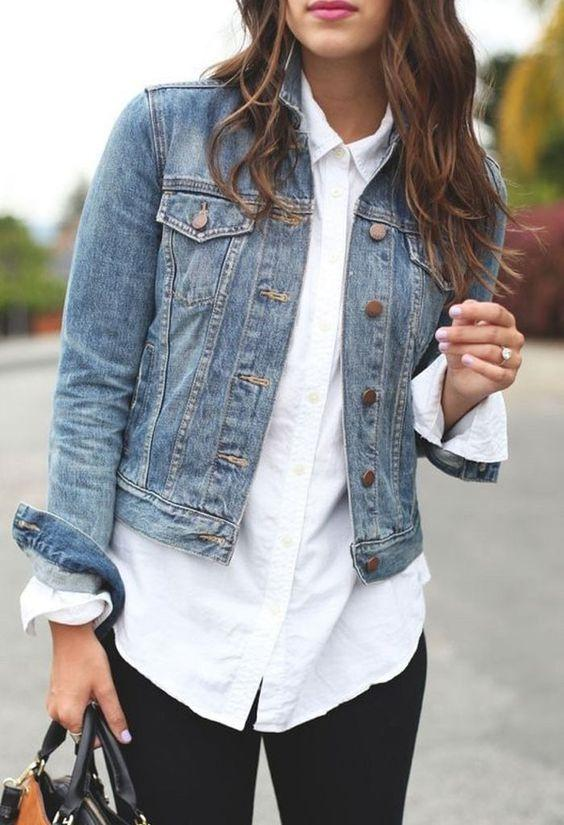 denim jacket and white top