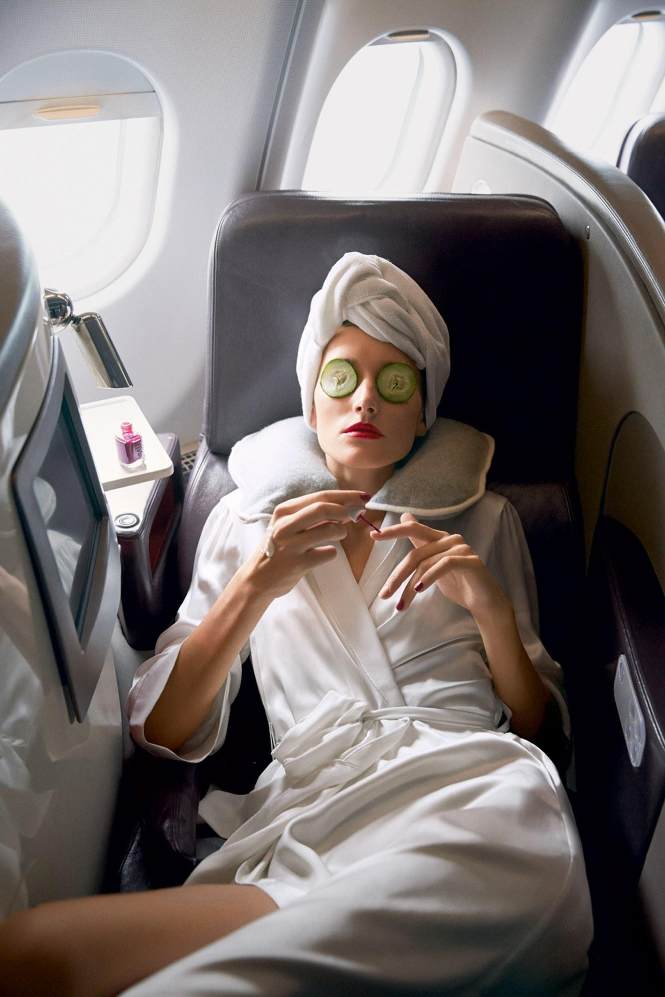 relaxing on an airplane