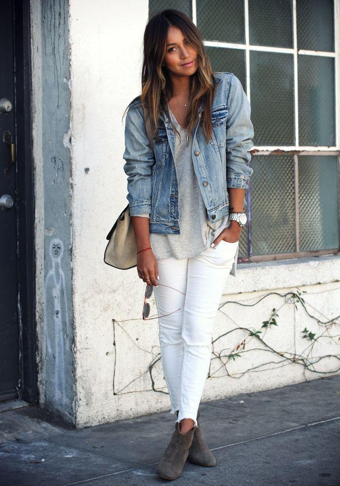 jean jacket and white pants