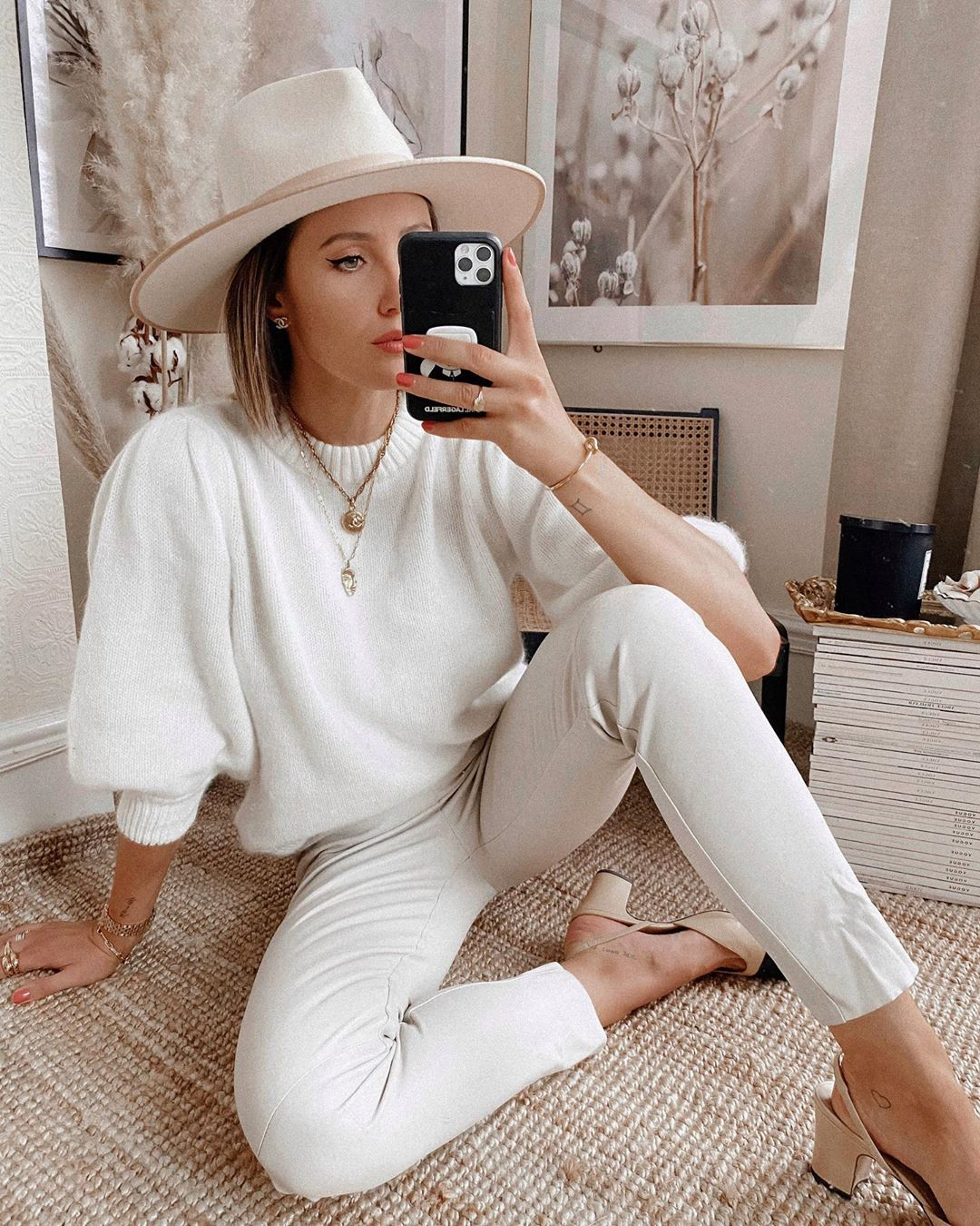 all white sweater puff sleeves