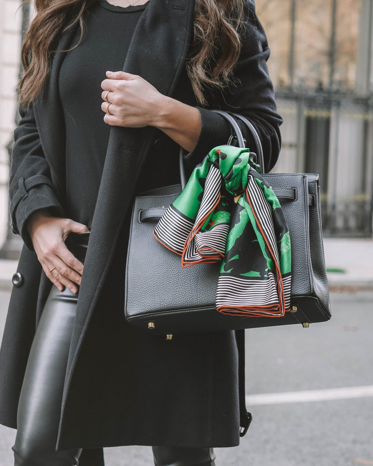how to style a scarf on a birkin