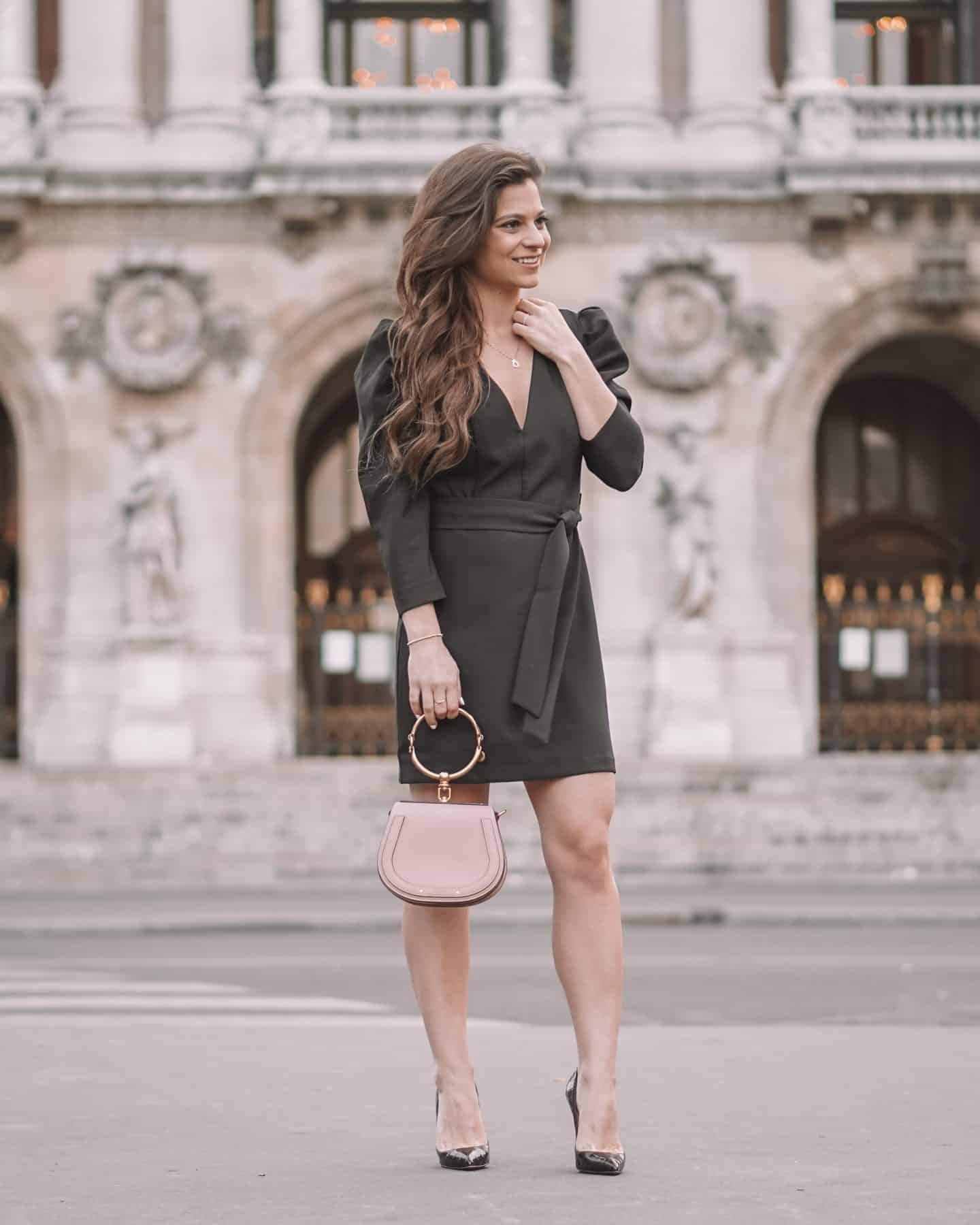 Black dress chloe nile bag