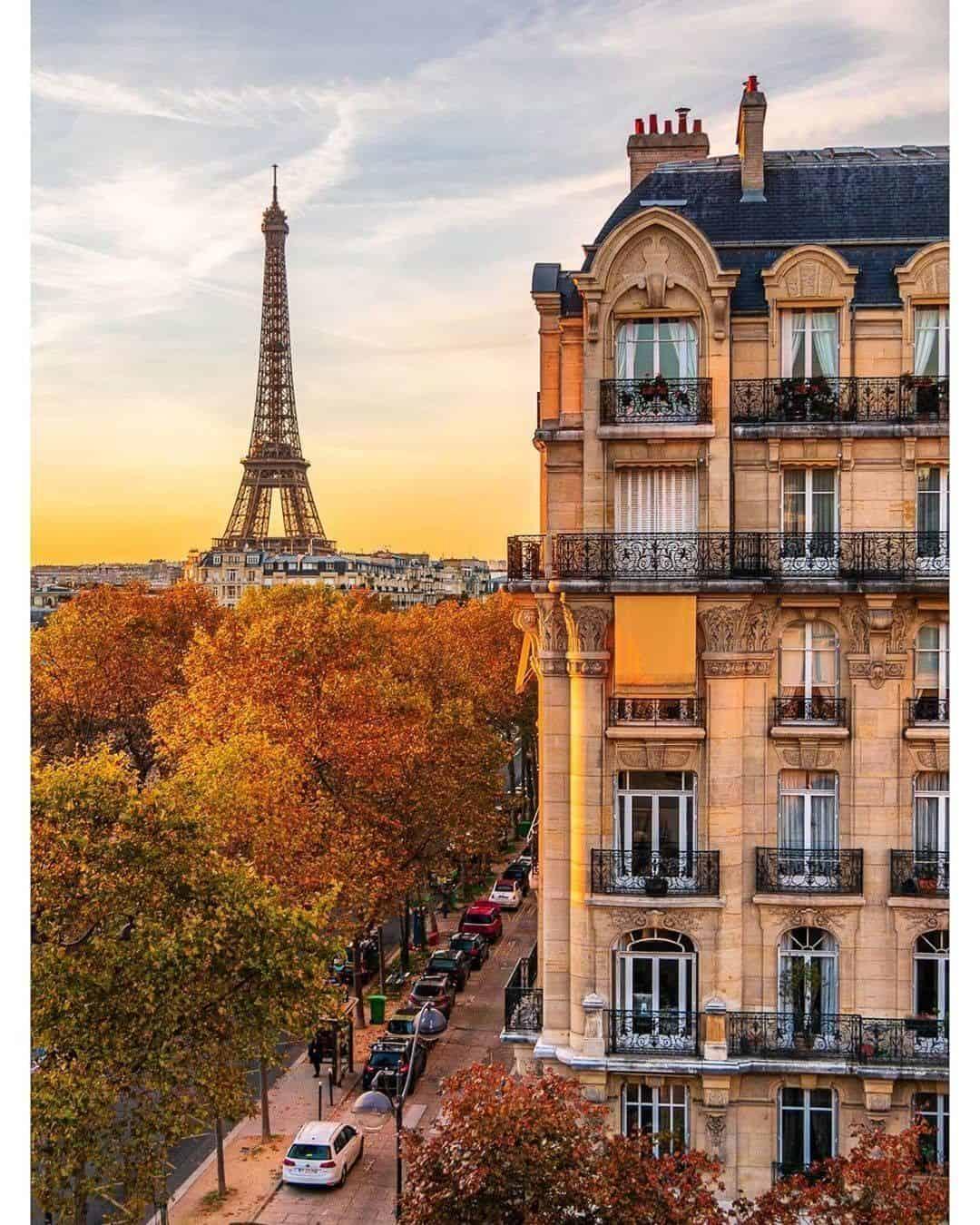 Eiffel Tower and Haussmann building in Paris petiteinparis