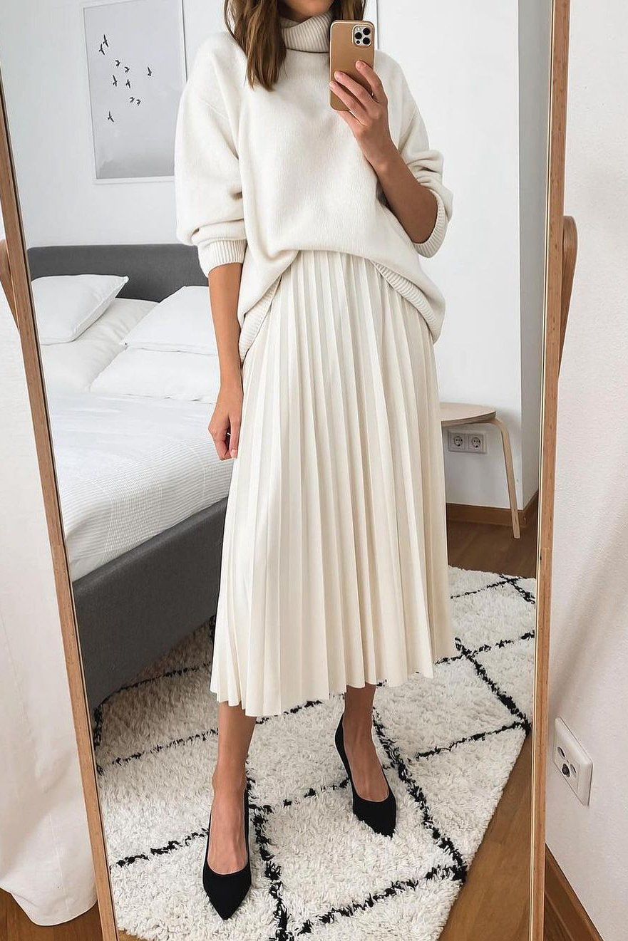 how to style a pleated skirt with a sweater