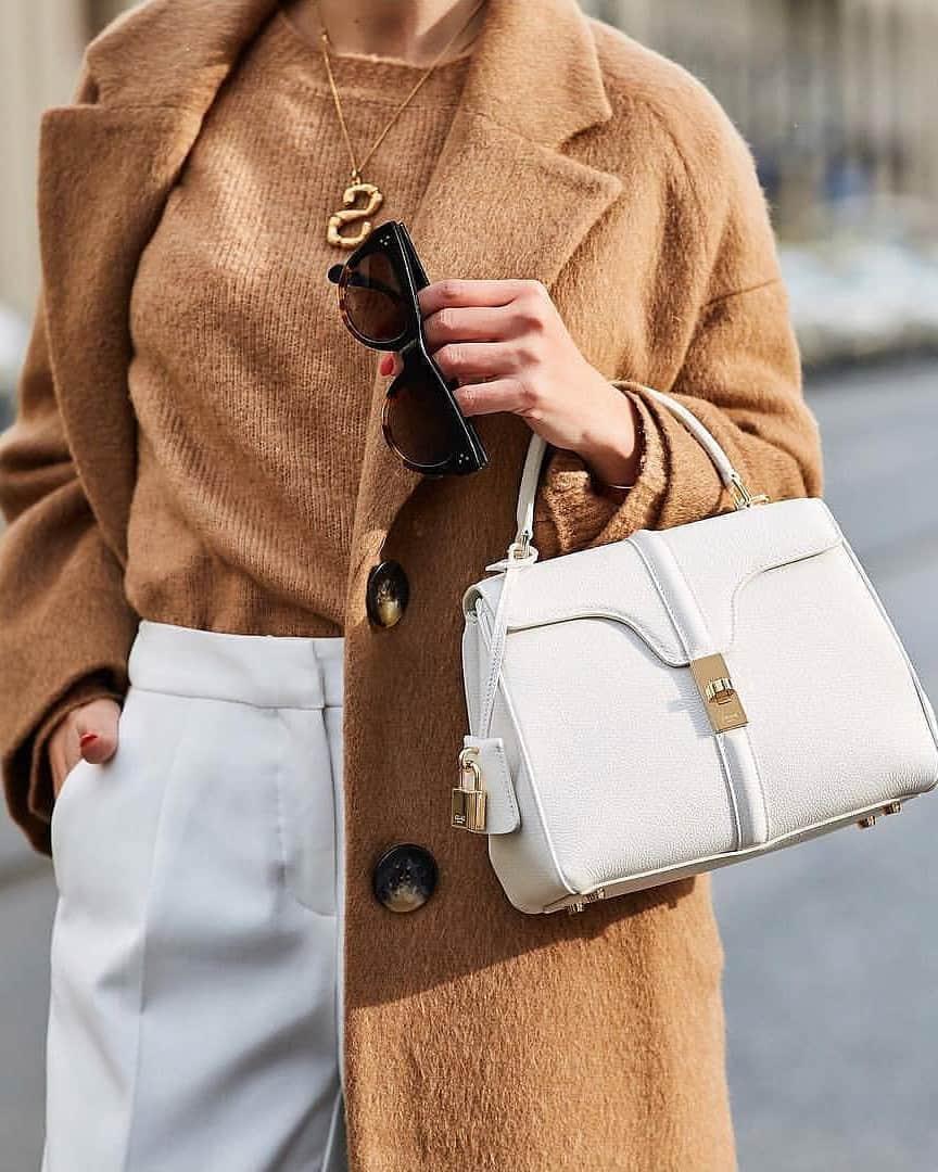 white Celine 16 bag styled
