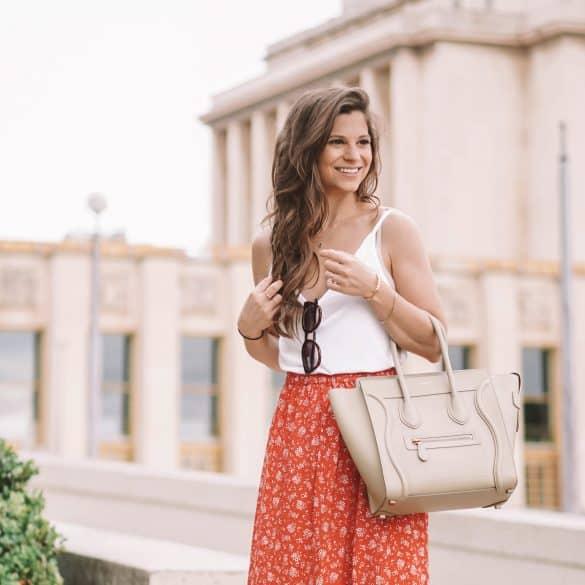 celine beige luggage bag styled