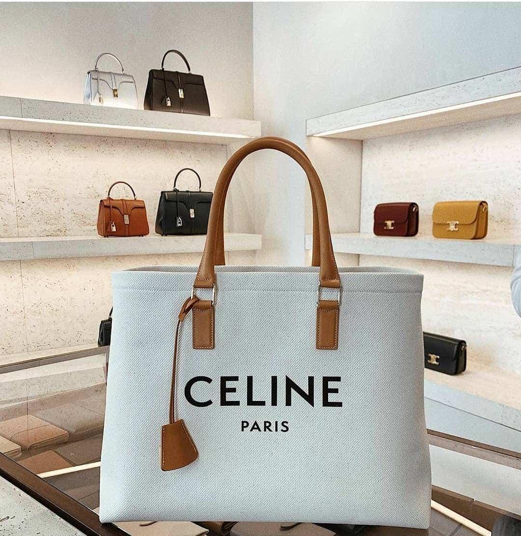 Celine Canvas Bag White Logo at Celine Store