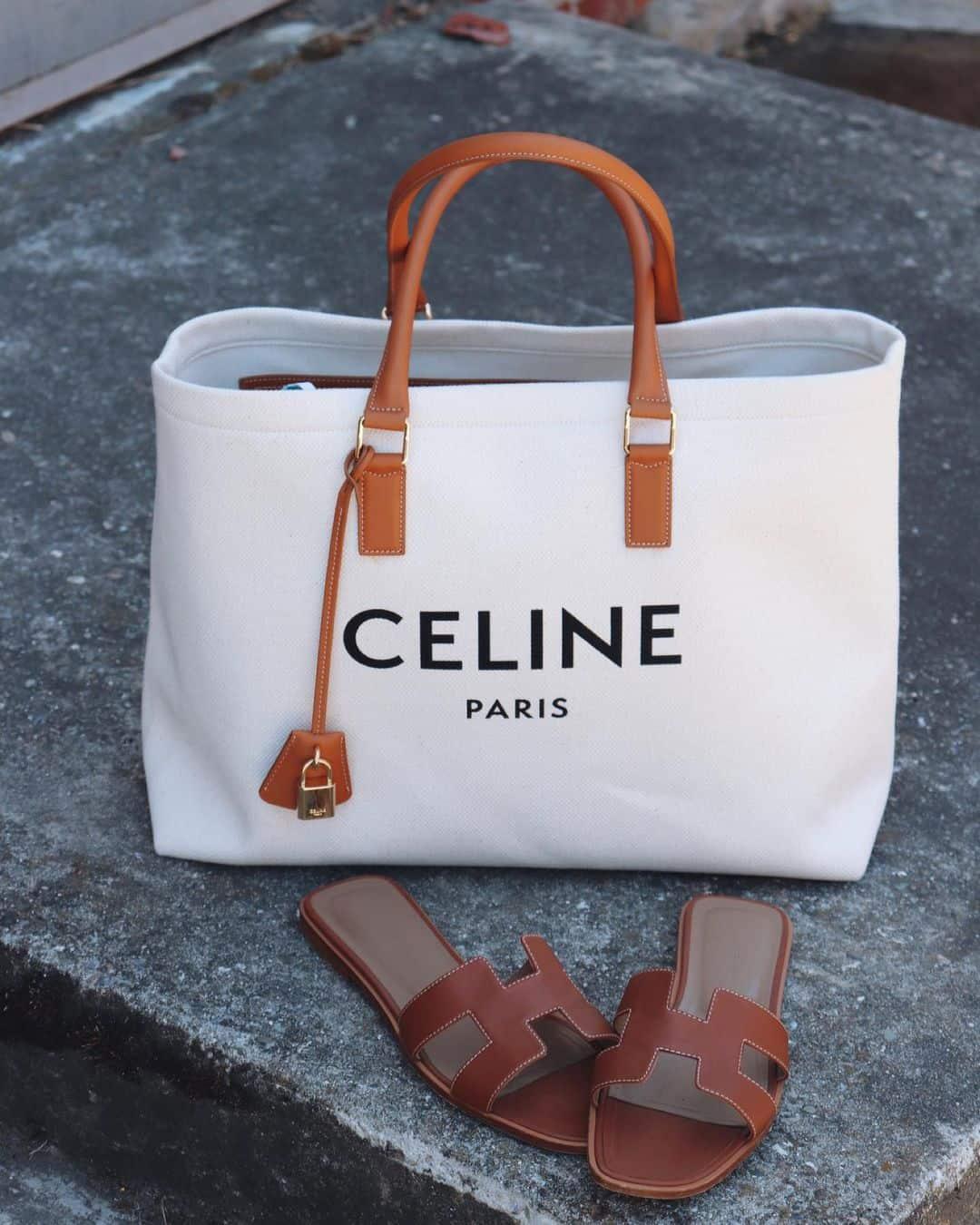 Celine Canvas Logo Bag and Hermes H Shoes