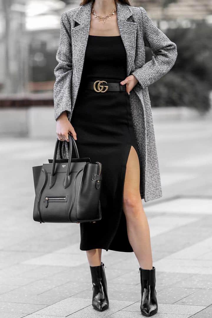 Black Celine Luggage Bag styled