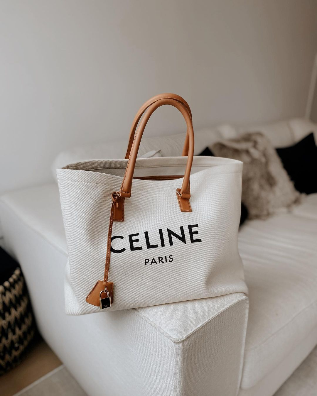 Celine Horizontal Cabas Tote Canvas with Leather styled