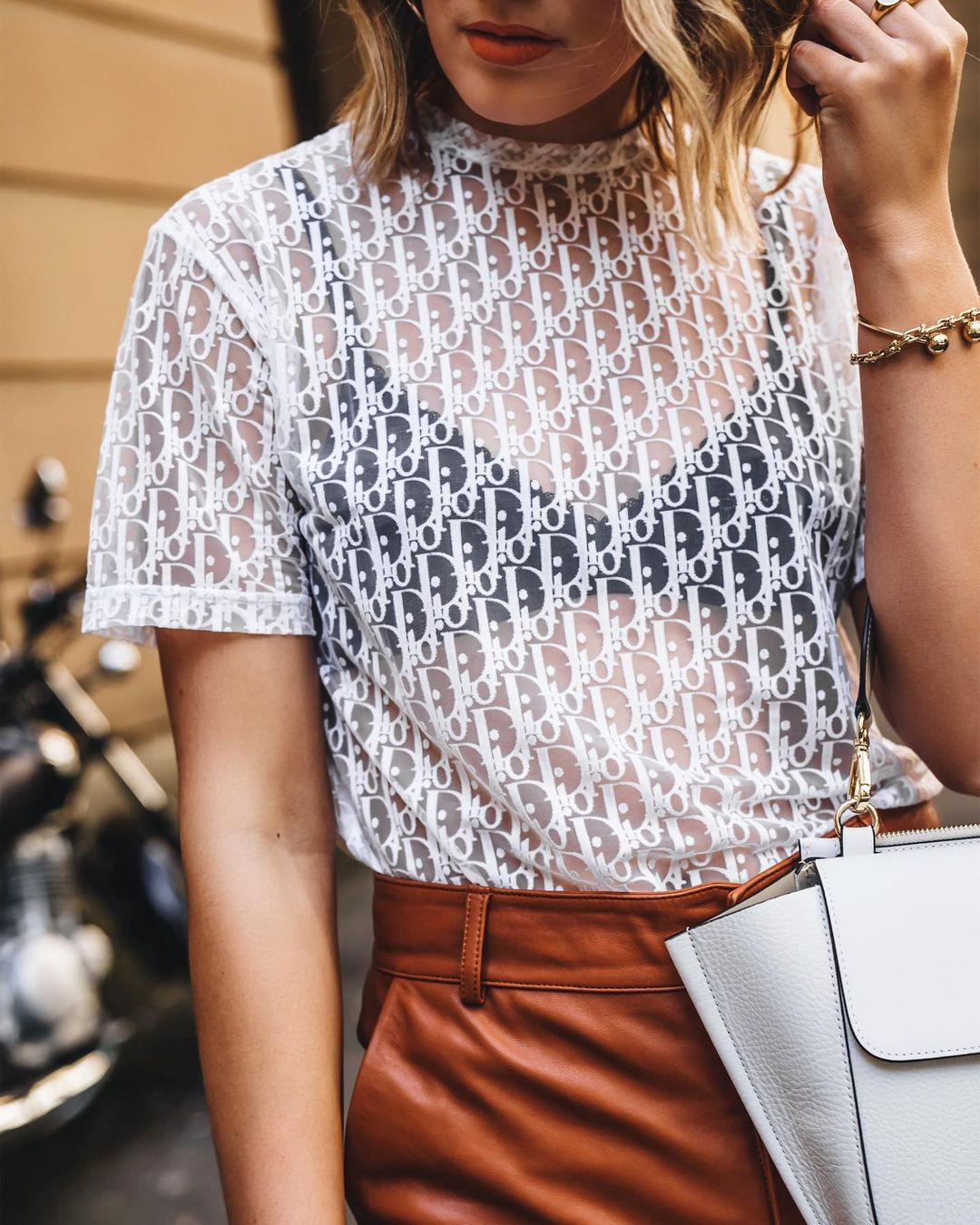 Dior Transparent white logo top styled