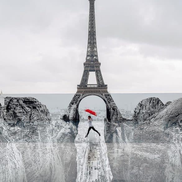 JR French Street Artist Design Eiffel Tower Red Umbrella