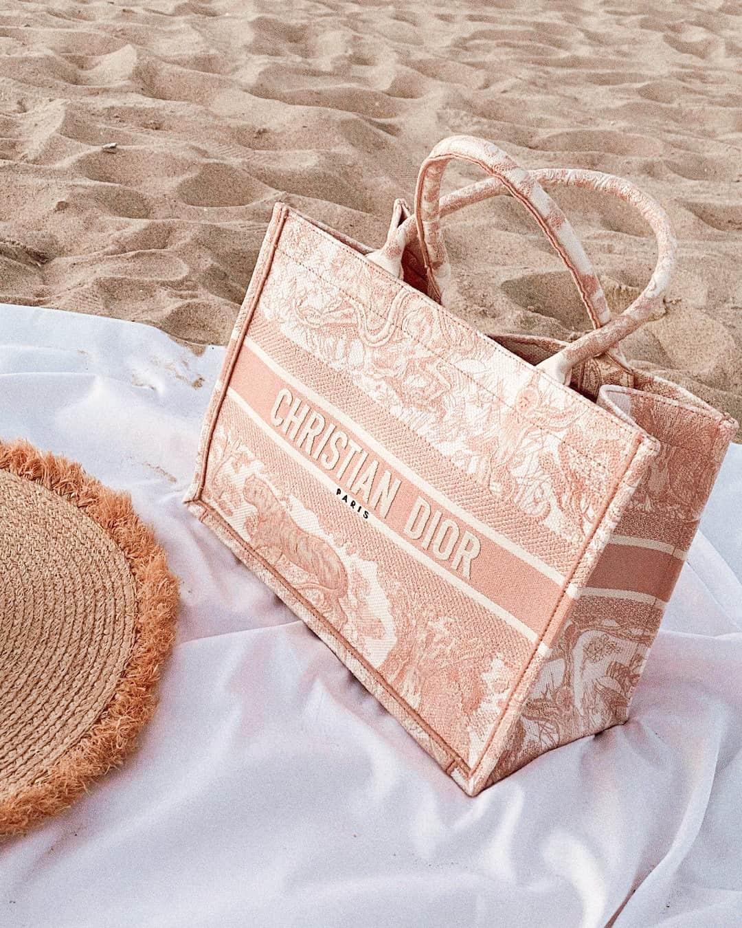 Pink Dior Book Tote Bag