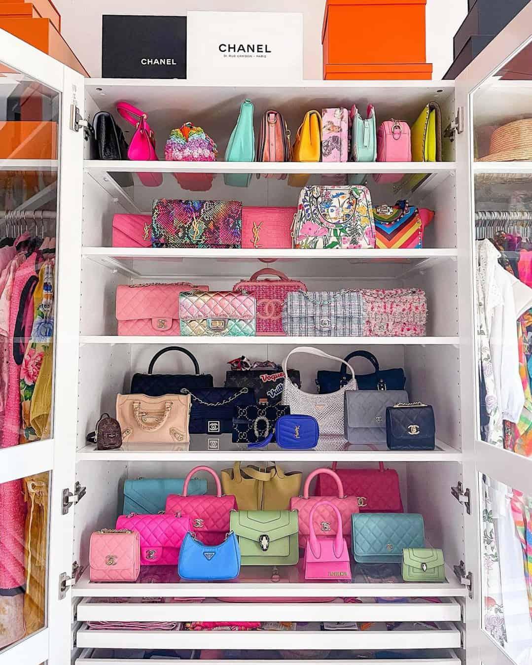 Handbag collection walk in closet