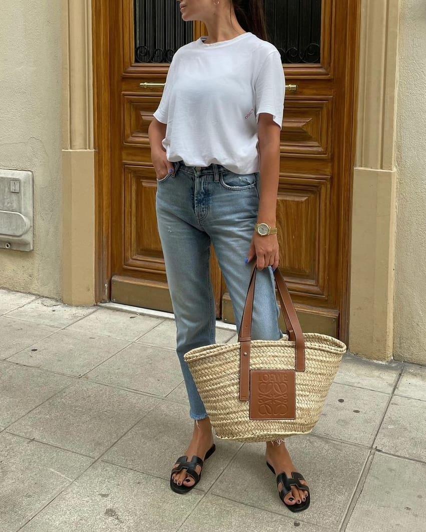 LOEWE Basket bag in palm leaf and calfskin outfit designer handbag