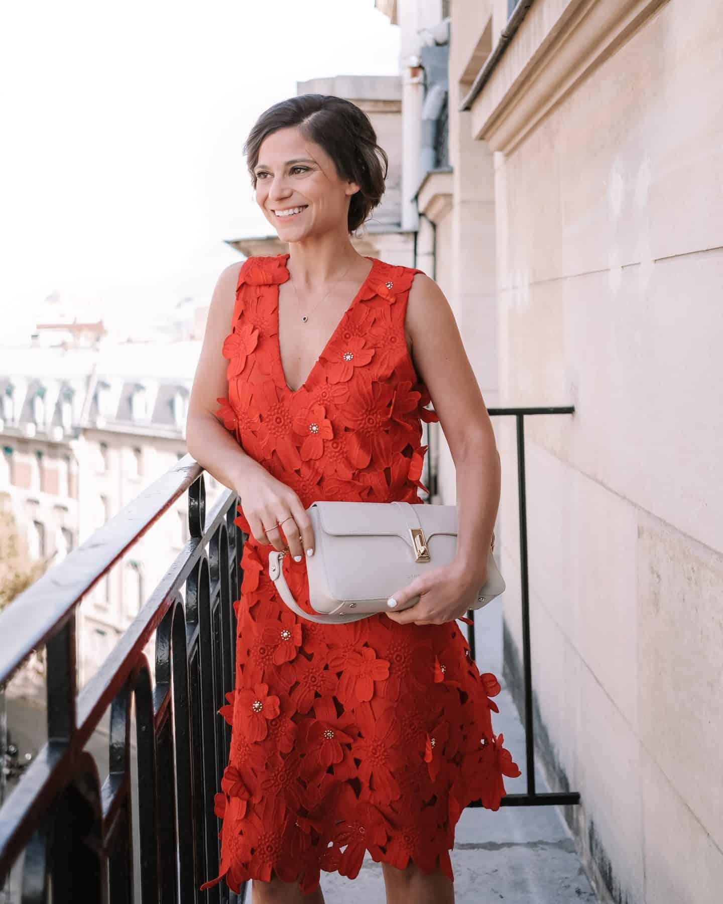 red michael kors flower dress and lancaster beige bag how many handbags