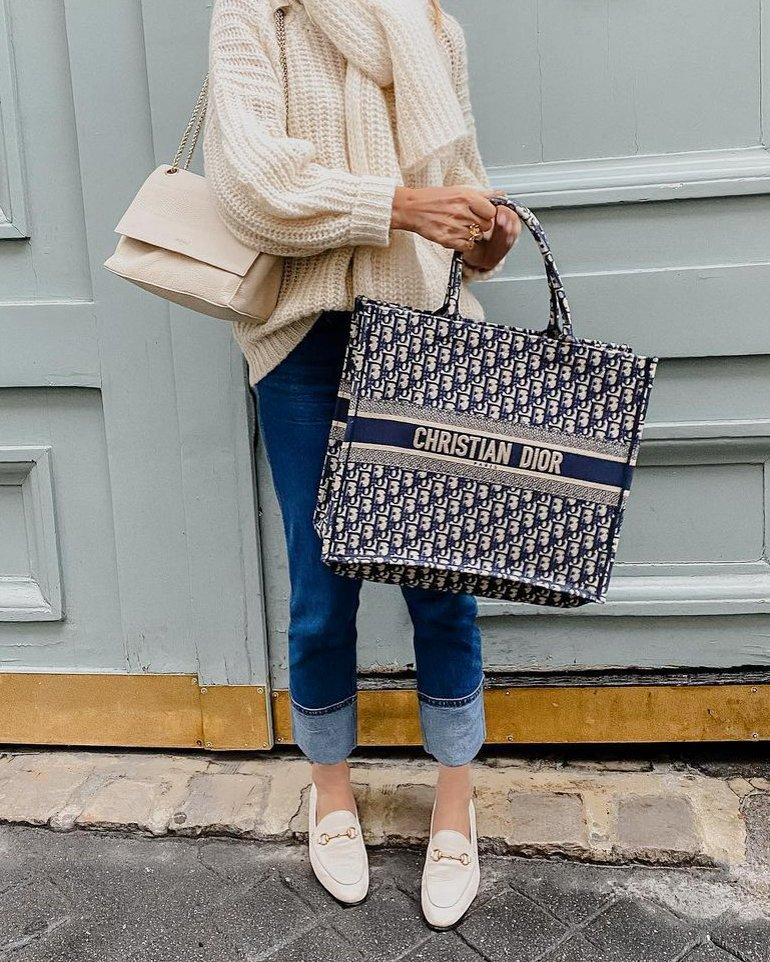 Dior book tote bag blue
