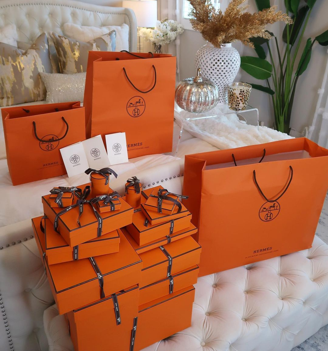 Many Hermes Bags and Boxes