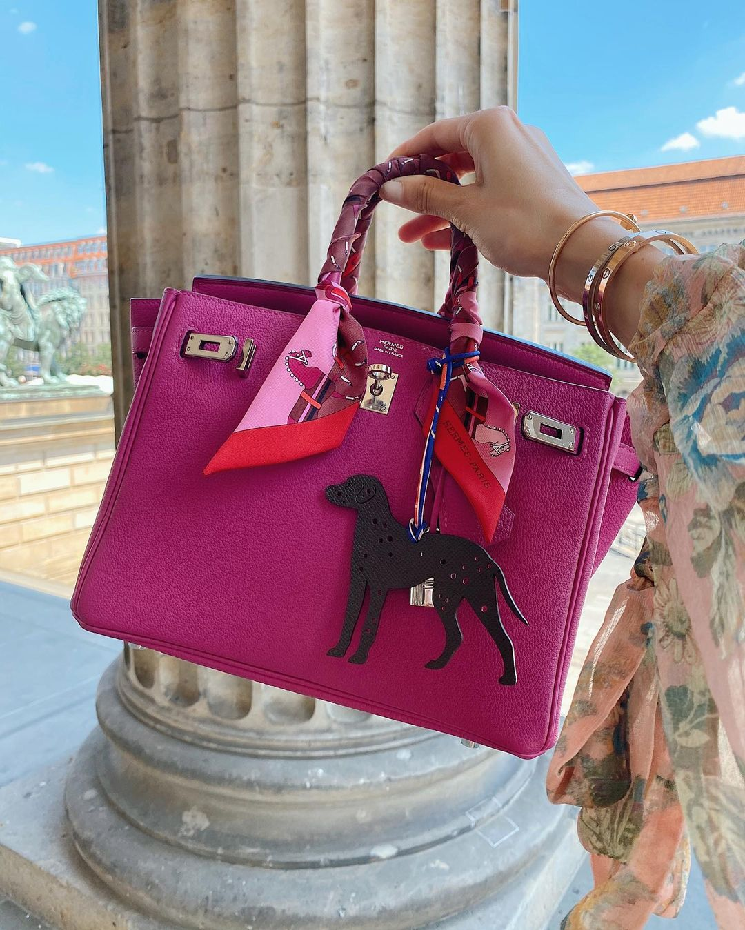 Pink Hermes Birkin with Twilly and Charm