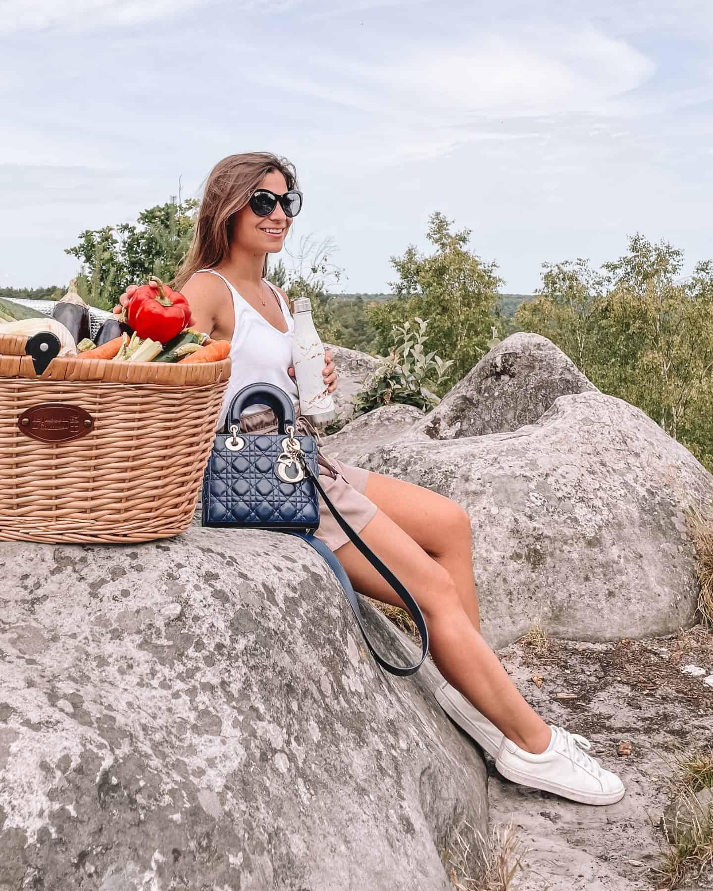 blue small Lady Dior Handbag Styled